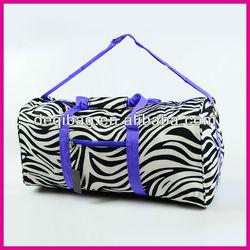 Zebra Purple DUFFLE Bag TOTE Dance Carryon Diaper Gym Cheer Travel