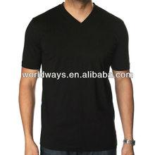 180gr fancy design v-neck cheap plain color black t-shirt men t-shirt