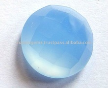 Natural Blue Chalcedony Round Rose Cut Gemstone Malani Gems & Jewels
