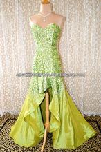 SJ1241 lime green new arrive good quality low price sweetheart taffeta beaded summer evening dress