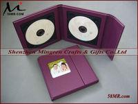 Elegant Burgundy Leather CD DVD Disc Box Storage Holder,1Pic,2Disc