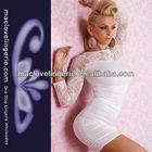 Sexy Fashion Top Charming Women Dress Wholesale Ruffle Design Slim Waist Women Clothing White Lace Fashion Frocks