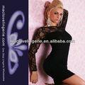 Loja on-line por grosso sexy moda vestido de noite de renda transparente vestidos bandage preta de manga comprida branca roupa por atacado