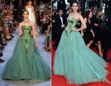 LEV-039 The 66th Annual Cannes Film Festival Red Carpet Designer Green Ball Gown Strapless Floor Length Tulle Net Frock Design