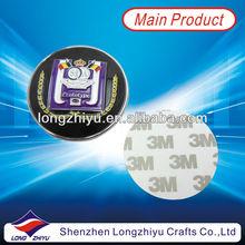 Metal zinc alloy flat custom car nameplate round enamel car emblem badge metal label with 3M self adhesive sticker