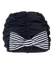 Stripe Bow Ruched Swim Cap