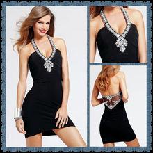High Quality Black Halter with Appliqued Lace Mini Sheath Chiffon Evening Dress