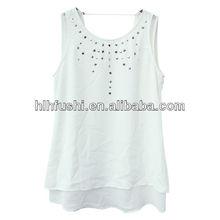 new design summer women t shirt 2013 with bead