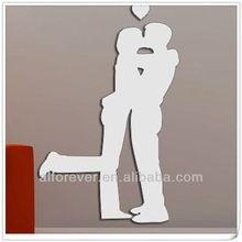mirror sticker kiss men for home decor