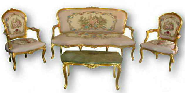 French louis xv style 6 piece salon suite reproduction for Salon louis xv
