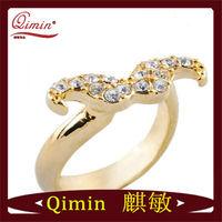 Cheap Gold-plated Rhinestone Beard alloy ring