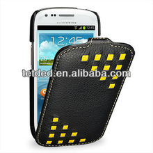 OEM Premium Leather Case for Samsung Galaxy S3/SIII Mini I8190 -- Troyes (Weave: Black044)