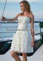 Novo design strapless appliqued em camadas de organza short a-line vestidos de noiva sexy imagens