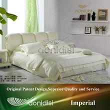 Elegant bedroom furniture storage leather bed