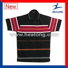 100% cotton Red and Black Stripe Mens Custom Polo Shirt