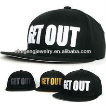 GET OUT Black(White) Hiphop Cap Rapper Hat Unisex Flat Visor Ball Cap