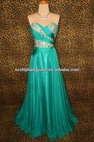 SJ1248 custom made new green low price summer chiffon crystal prom dress