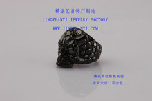 very fashion black CZ silver skull ring