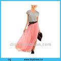 2013 mais recente moda chiffon plissado saia longa para jovens senhoras