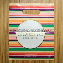 stripe color printed die cut plastic die cut bag for shopping
