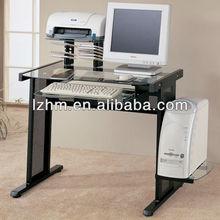 Glass Top Metal Leg Computer Desk With CPU holder LZ-13-41