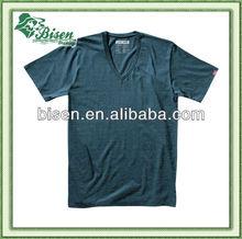 Custom Private Label 100% Organic Cotton Plain Men's V Neck T Shirt