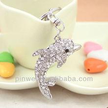 Crystal dolphin and porpoise rhinestone keychain key chain keyring key ring charm SK1043