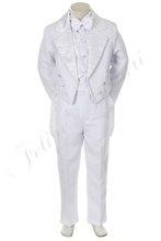 by011 bambino bianco ragazzo tuta tuxedo bambino battesimo battesimo comunione abiti da cerimonia festa di nozze poliestere jacquard 5pc 2t 3t 4t
