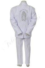 by021 e bianco bambino ragazzo bambino abiti da cerimonia battesimo battesimo poliestere jacquard Guadalupe ricamo 5pc tuta tuxedo 2t 3t 4t