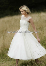 Fashion Sheer Feather Flower sash Bateau Neck Organza Ball Gown Empire Tea-length Gown Wedding Dress