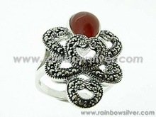 Marcasite Silver Ring with Red Carnelian (Semi Precious) made with 925 Sterling - Multi Curve Pattern