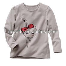 2013 hot sale Nova long sleeve children t-shirt/printed bunny t-shirt 100% cotton