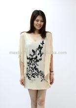 Women Cashmere Long Printed bat-wing sleeve Sweater