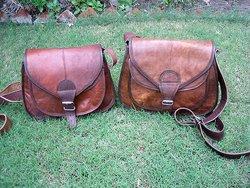 vintage goat leather women bag with velvet 7 lining