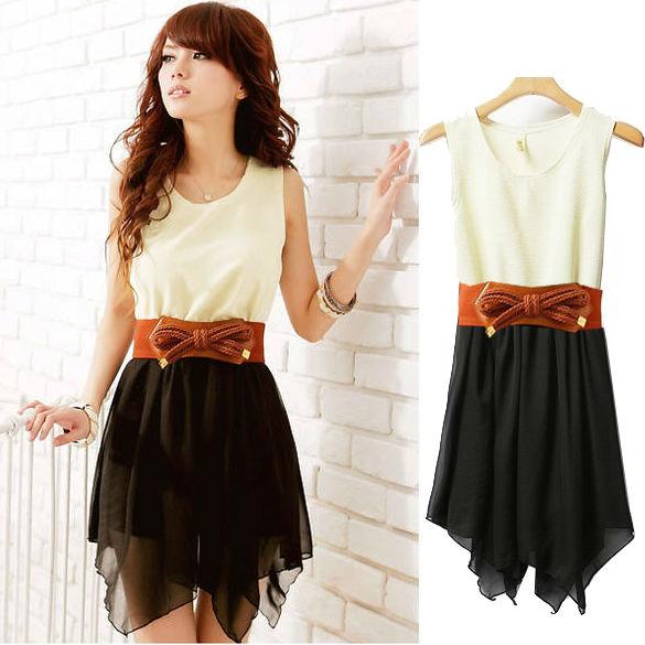 2013 Korean Women casual Summer Fashion Chiffon + Cotton blended sleeveless Top Mini Dress With  ...