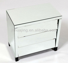Hot Sale Mirrored Chest with 3 Slanted Drawers and Black Wooden Legs/Decorative Mirrored Table/Mirrored Cabinet/Buffet