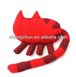 stuffed long tail red plush cat