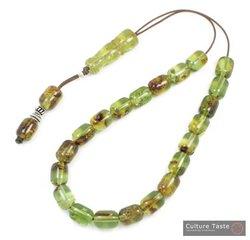 Worry Beads-Greek Komboloi ~ Solid Green Amber - Barrel - L