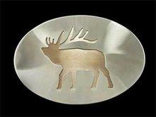Western Stainless Steel Belt Buckle, Elk Design, USA