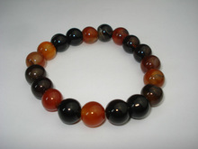 10mm black brown grey red striped lines agate natural gemstone bead with 925silver bracelet length 20cm to 21cm