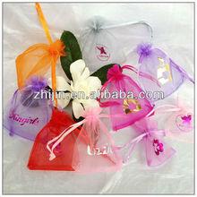 Champagne Eyelash Organza Cheap Organza Bag with Drawstring