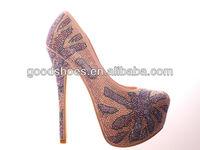 Fashion pump rhinestone pearls high heel shoes for ladies with good quality