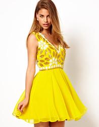 fashion design high quality sleeveless v neck virgos lounge verity embellished babydoll alibaba yellow chiffon new dresses