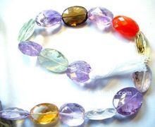 Natural Multi Color Oval Facet Semi precious Stone Amethyst,Topaz, Green Amethyst, Rose Quartz, Smoky, Citrine Loose Gemstone