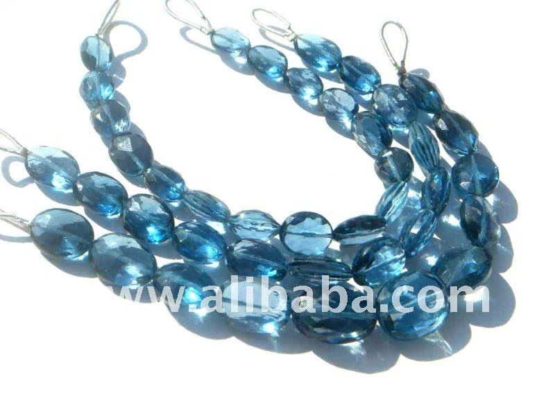 London Blue Topaz Faceted Oval Semi Precious Gemstone Beads