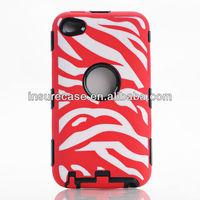 New arrived Red/white cell phone case Zebra laser finishing robot combo cases for Apple Ipod touch 4G