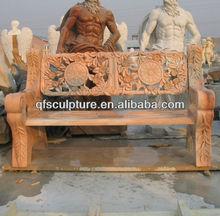 Garden pink marble stone bench