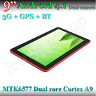 New hd mtk 6577 tablet pc phone call 9'' factory price dual core 3G+GPS+BT