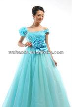Q5359LA off shoulder flower sash blue wedding dress