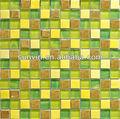 Vitrificada cerâmica bolha telha de mosaico mista mão impressão de vidro para paredes